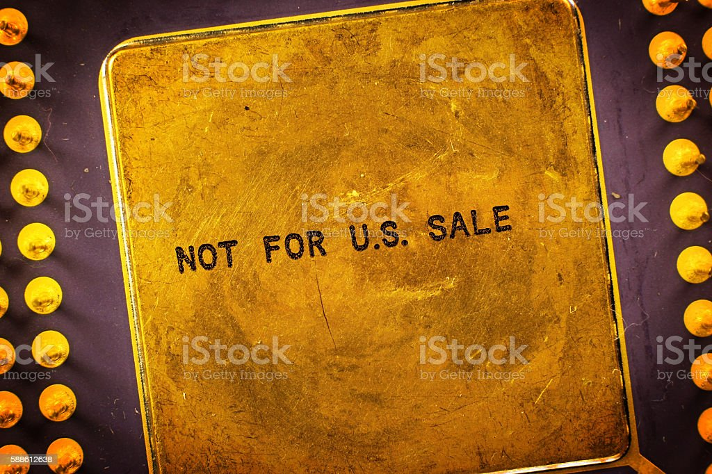 Label on taiwanese processor that infringed american patents stock photo