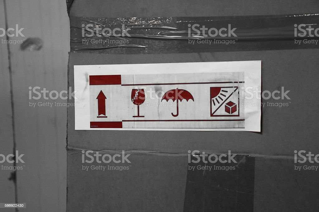 Label on the cardboard stock photo