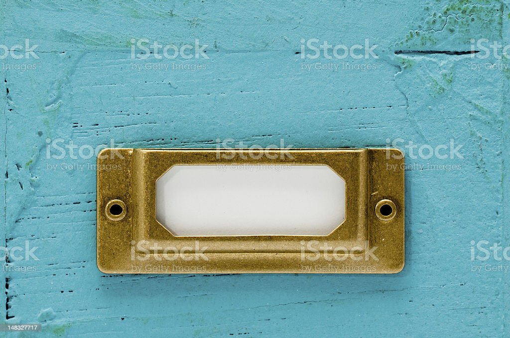 Label plate on blue box royalty-free stock photo