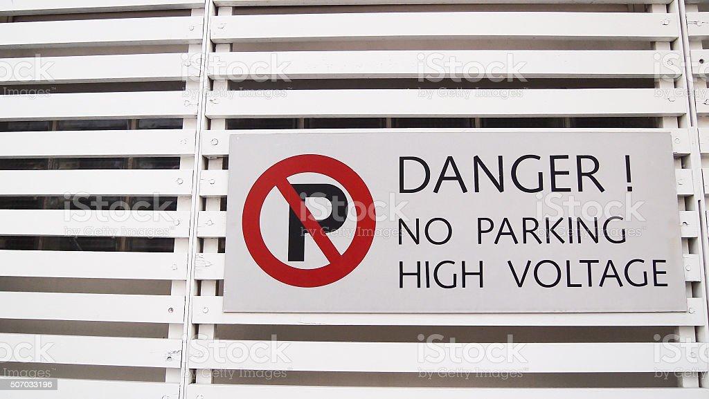 label prohibiting parking stock photo
