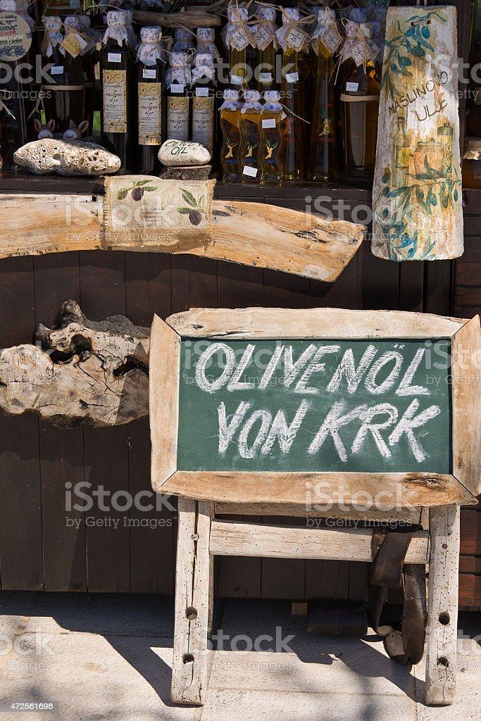 label sales of olive oil  Croatia stock photo
