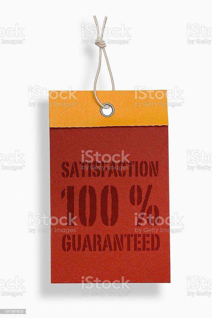 Label saying 100 % satisfaction guaranteed royalty-free stock photo