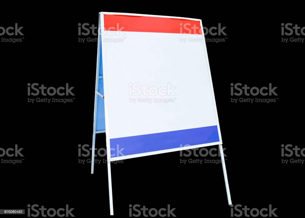 Label signs advertise white red blue board on background stock photo