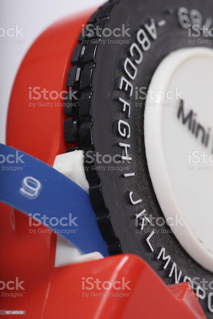 label tape machine detail stock photo