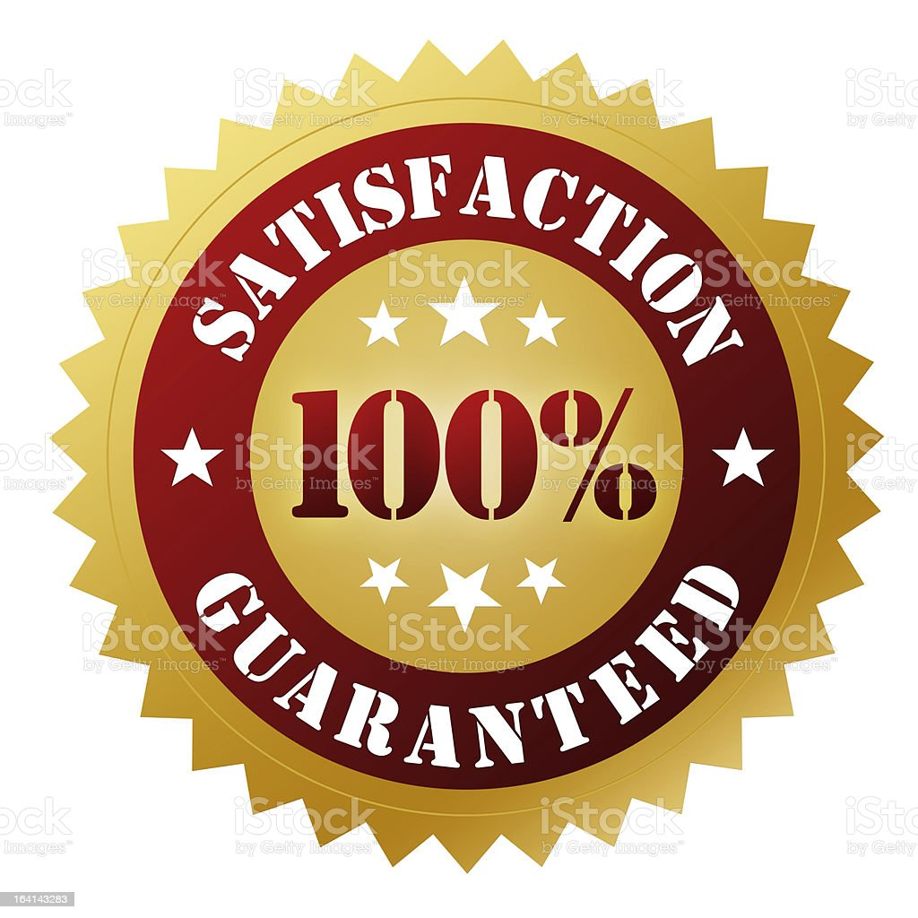 A label used for sales guaranteeing customer satisfaction stock photo