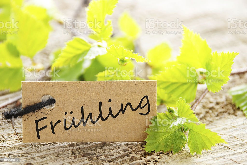 label with Fruehling royalty-free stock photo