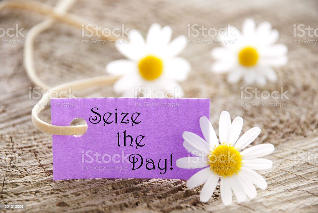 Label with Seize the Day stock photo