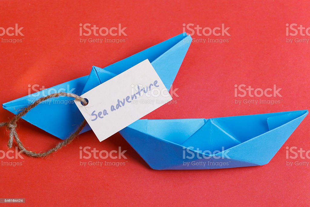 Label with the Words Sea adventure stock photo