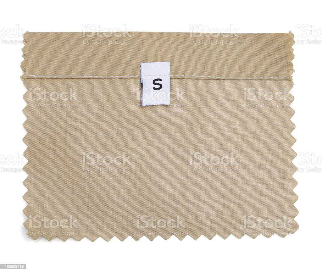 S Labeled Beige Fabric Swatch royalty-free stock photo