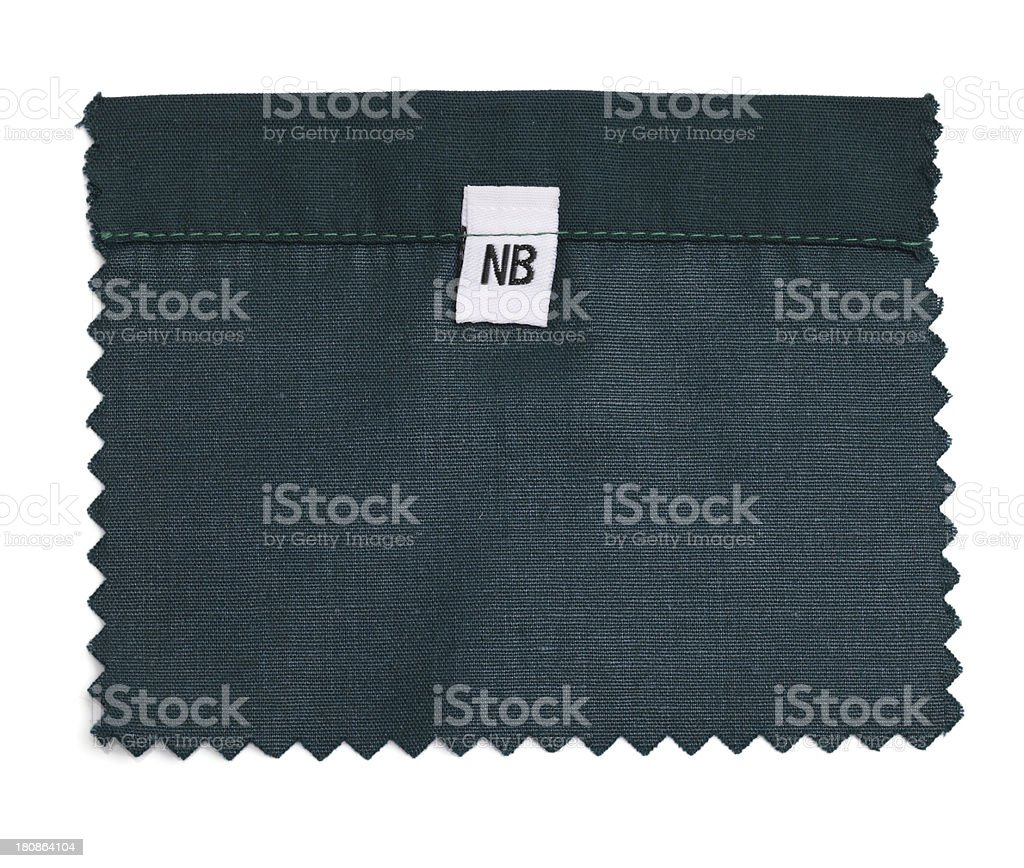 Labeled Green Fabric Swatch royalty-free stock photo