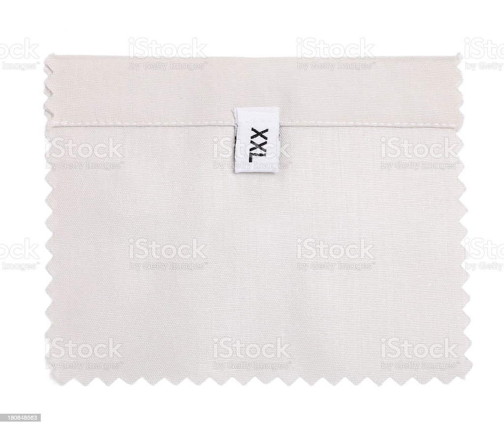 XXL Labeled White Fabric Swatch royalty-free stock photo