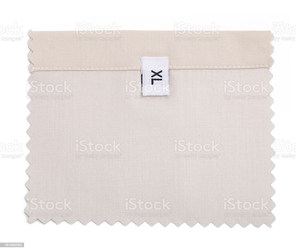 XL Labeled White Fabric Swatch royalty-free stock photo