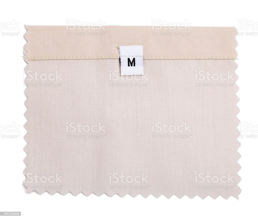 M Labeled White Fabric Swatch royalty-free stock photo