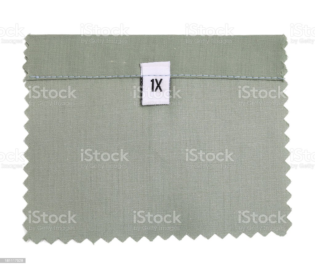 1X Labeled White Fabric Swatch stock photo