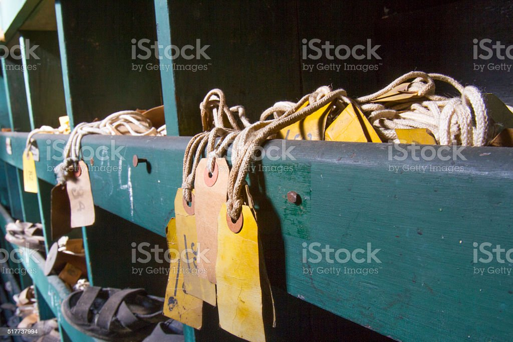 Labels in cubby stock photo