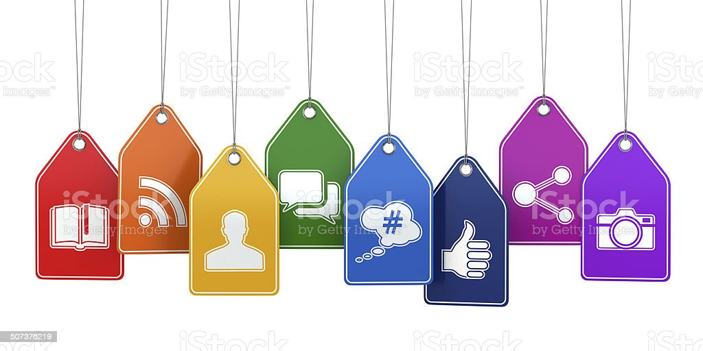 Labels with social media icons. Concept. stock photo