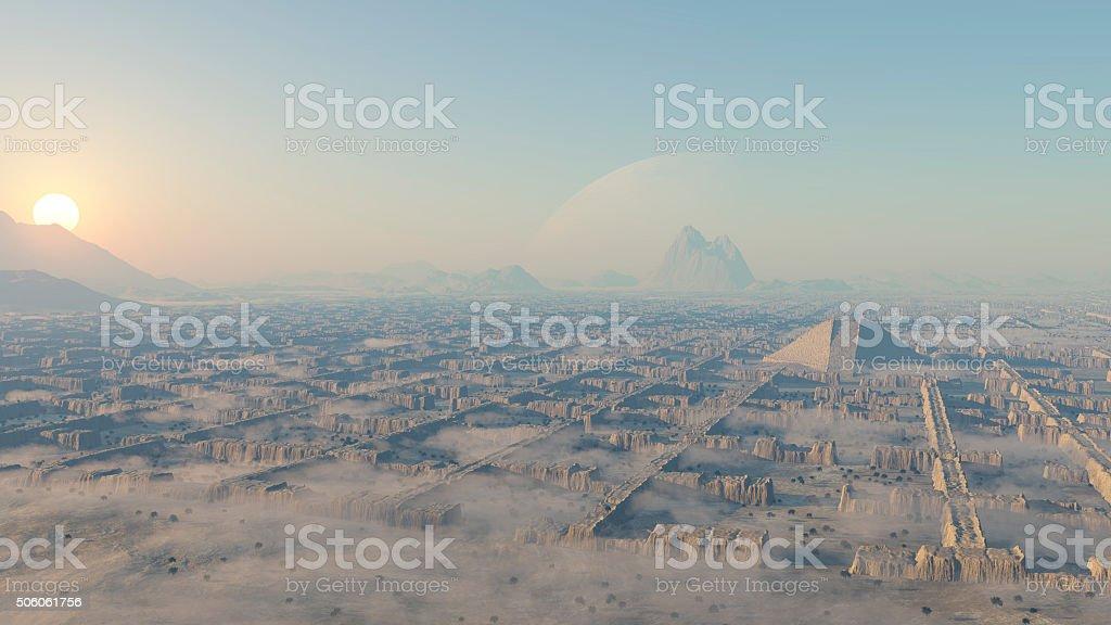 laberinto en el desierto stock photo