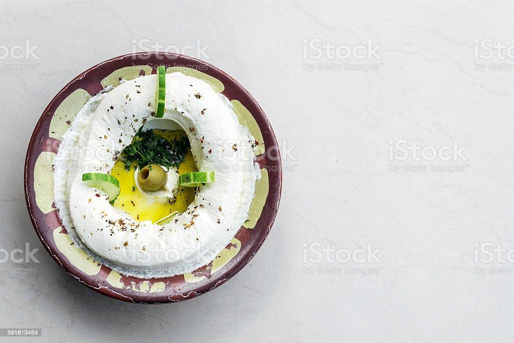 labneh fresh lebanese cream cheese dip snack food dip stock photo