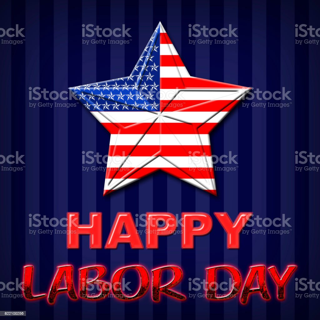 Labor Day, American Flag designed Stars, 5 pointed stars with the the Amarican Blue, Red and White, Stars and stripes. stock photo