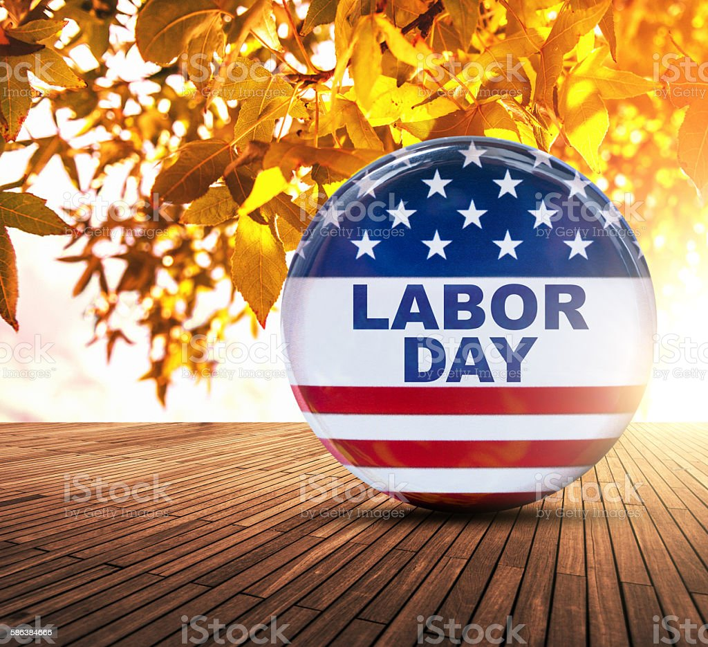labor day badge button stock photo