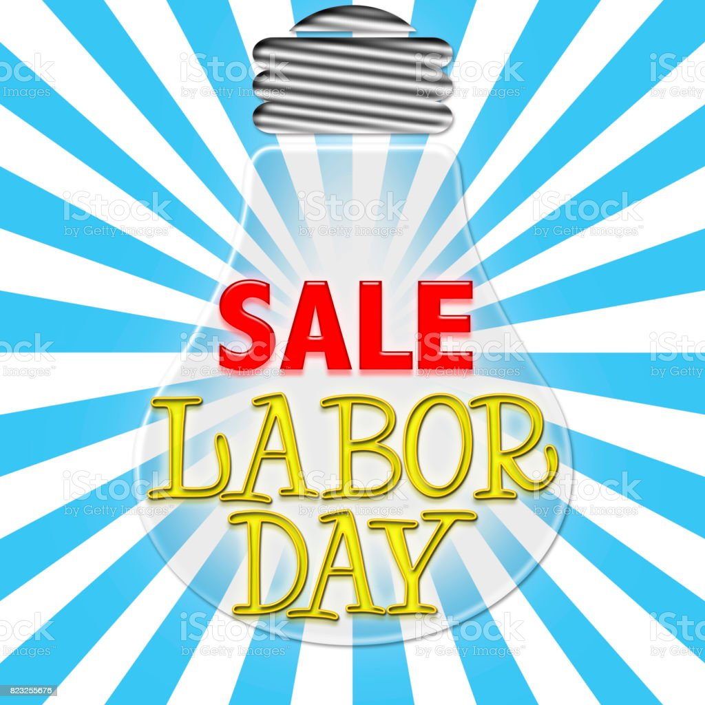 Labor Day Sale, Light bulb with bright shining text inside stock photo