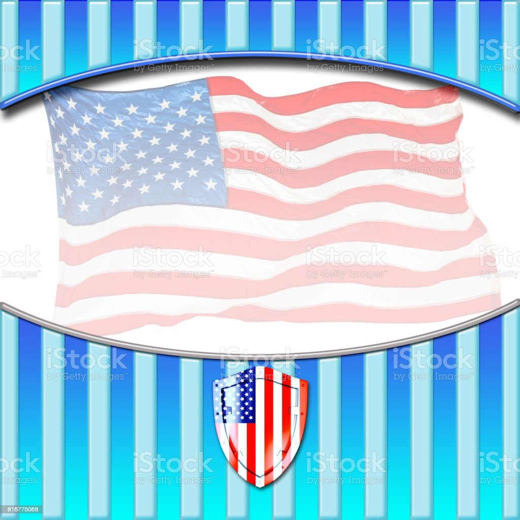 Labor Day Template, fancy display for your message, in clear and bright blue colors, America flag in the white background. stock photo