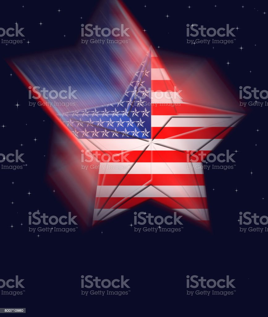 Labor Day USA, falling star, against a dark blue sky, red and white stripes. stock photo