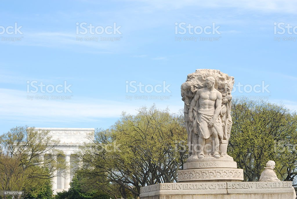 'Labor' Statue, Arlington Mem. Bridge and Lincoln Memorial royalty-free stock photo