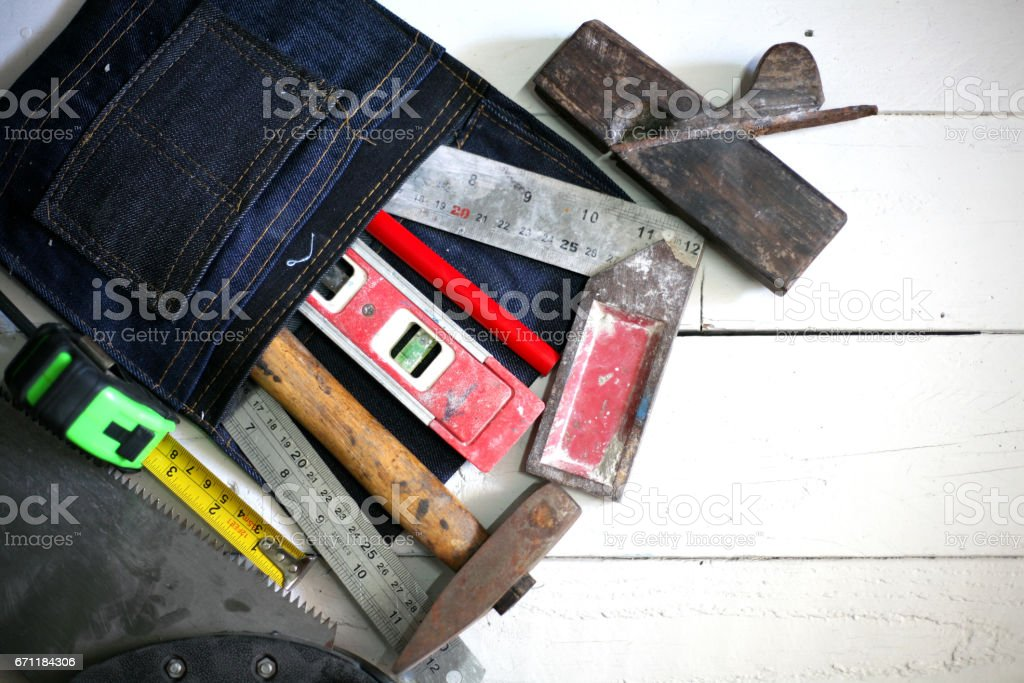 labor tool in bag stock photo