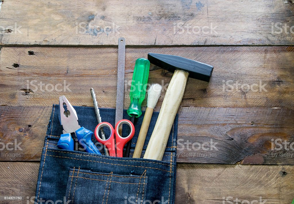 labor tools in Denim bags stock photo