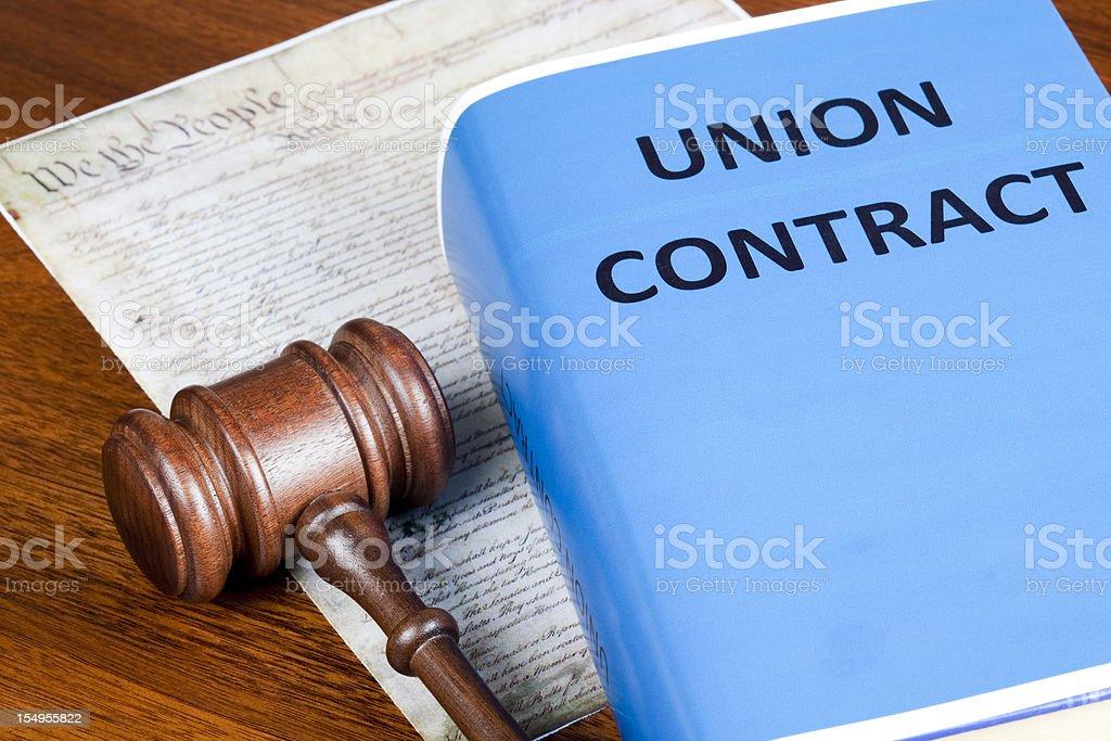 Labor Union contract and Preamble stock photo
