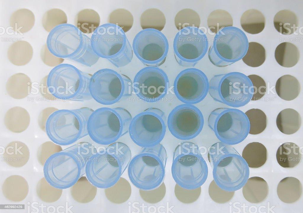 Laboratory blue pipette tips stock photo