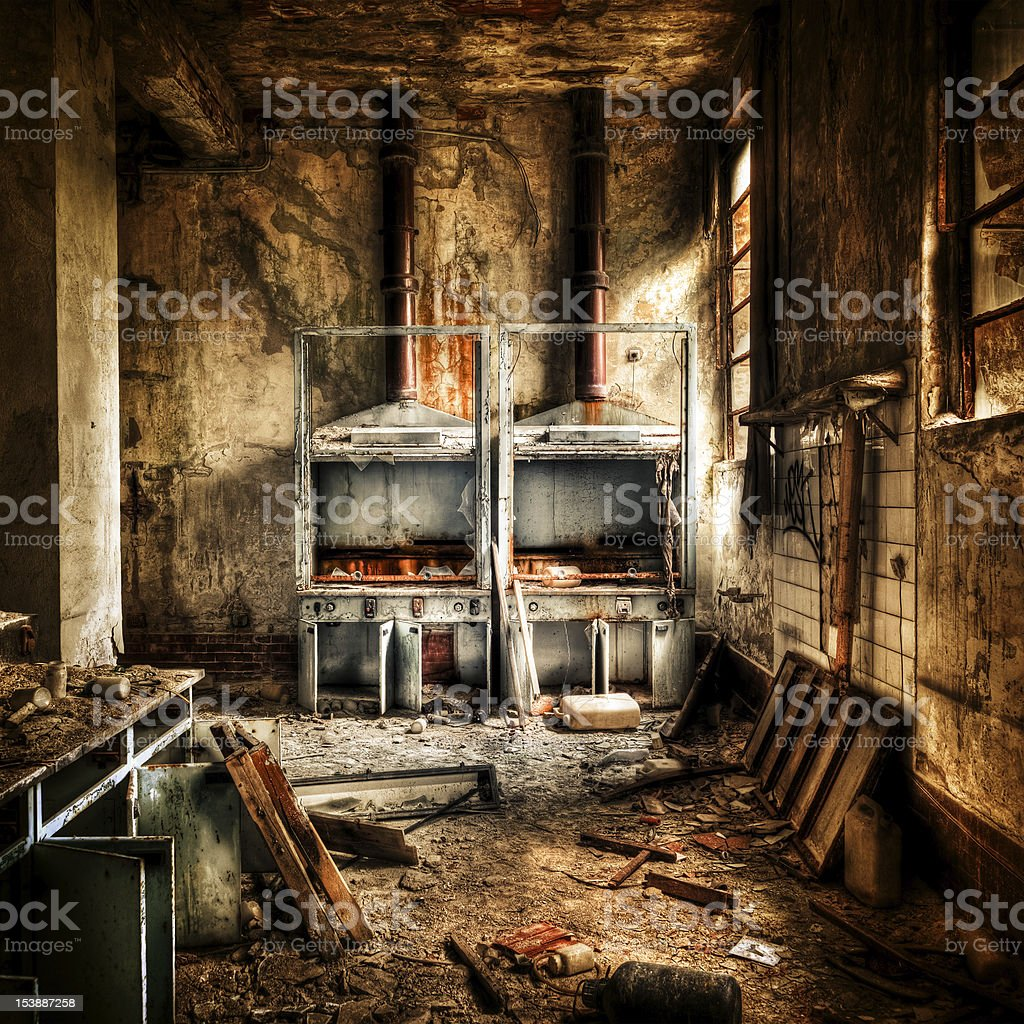 Laboratory Burnt Ruined Interior, Destruction Abandoned Building stock photo