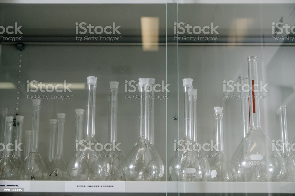 Laboratory cabinet containg glassware stock photo