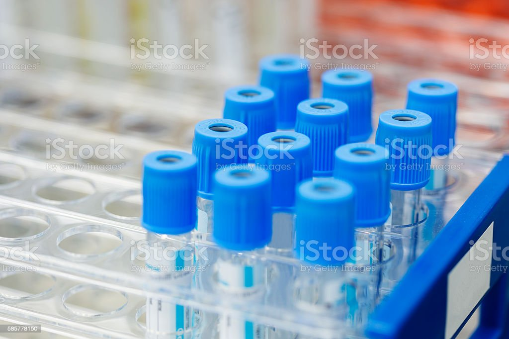 Laboratory. Empty Vacutainers stock photo