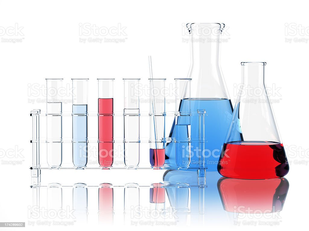 Laboratory Equipment On White stock photo