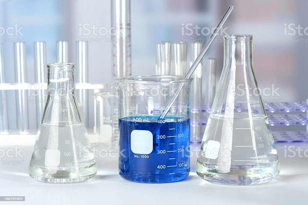 Laboratory Glass on Table stock photo