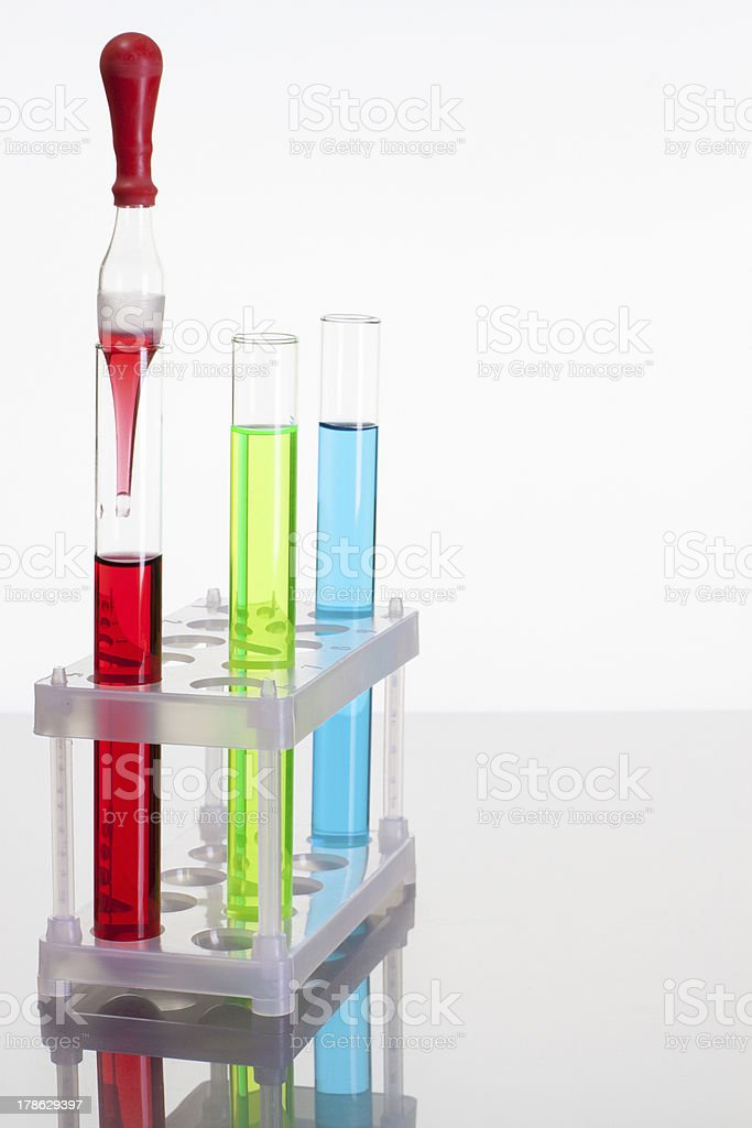 Laboratory glass test tubes with color liquid royalty-free stock photo