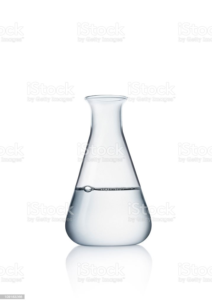 Laboratory glass with water stock photo