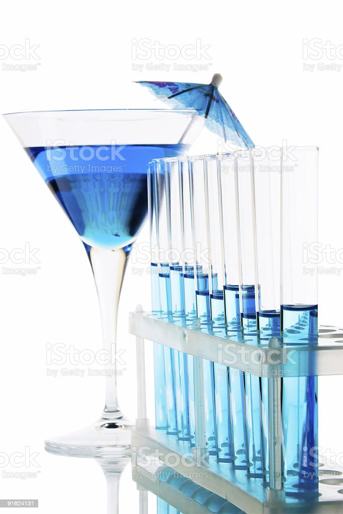 Laboratory glassware and cocktail royalty-free stock photo