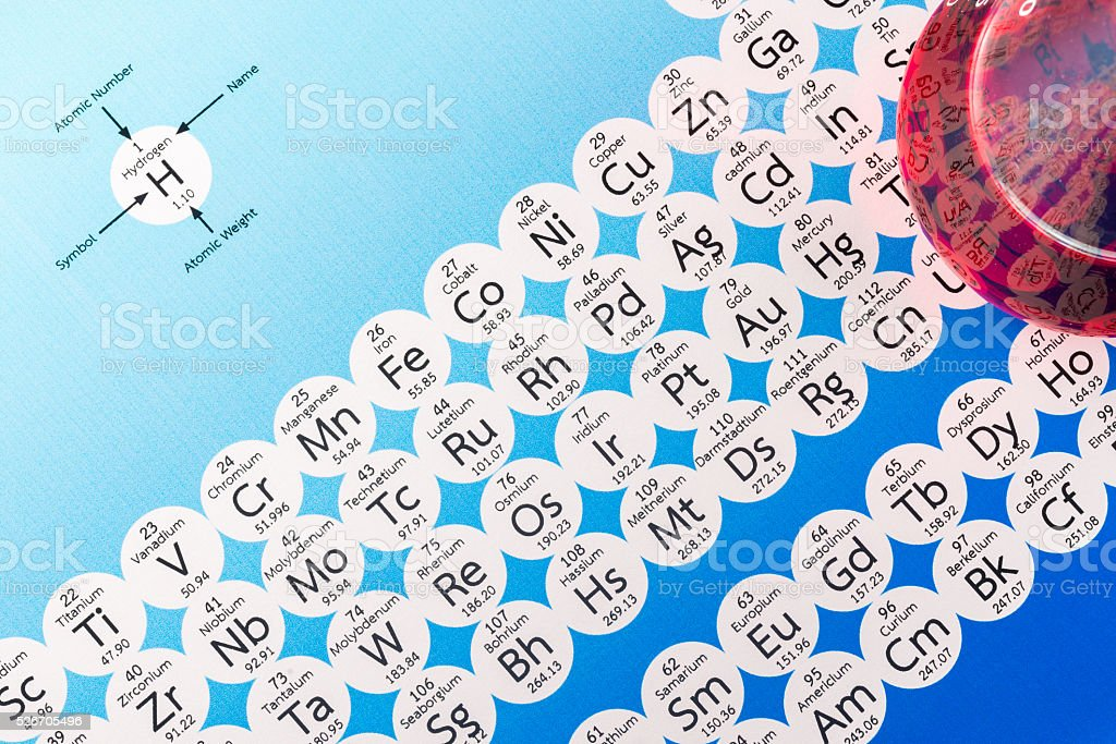 Laboratory glassware and periodic table of elements. stock photo