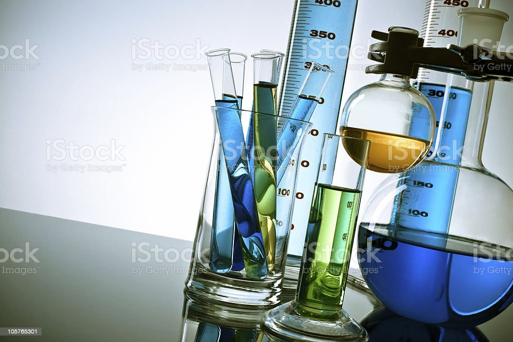 Laboratory glassware and test tubes stock photo