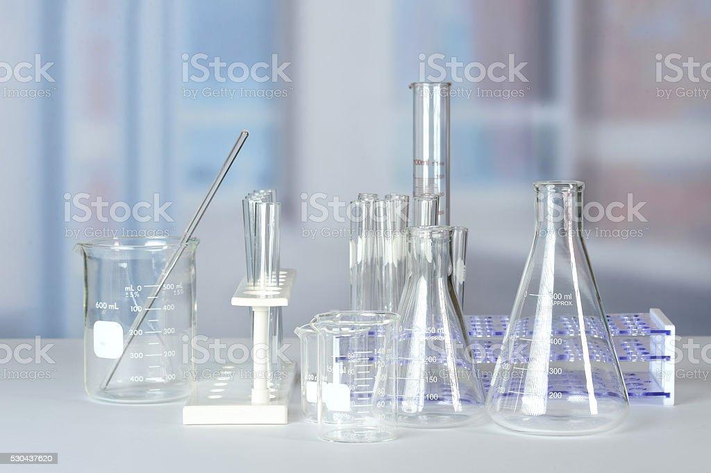 Laboratory Glassware on Table stock photo