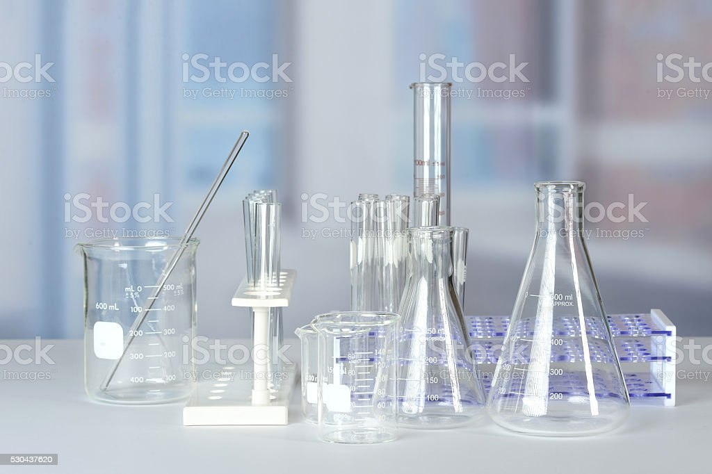Laboratory Glassware on Table stock photo