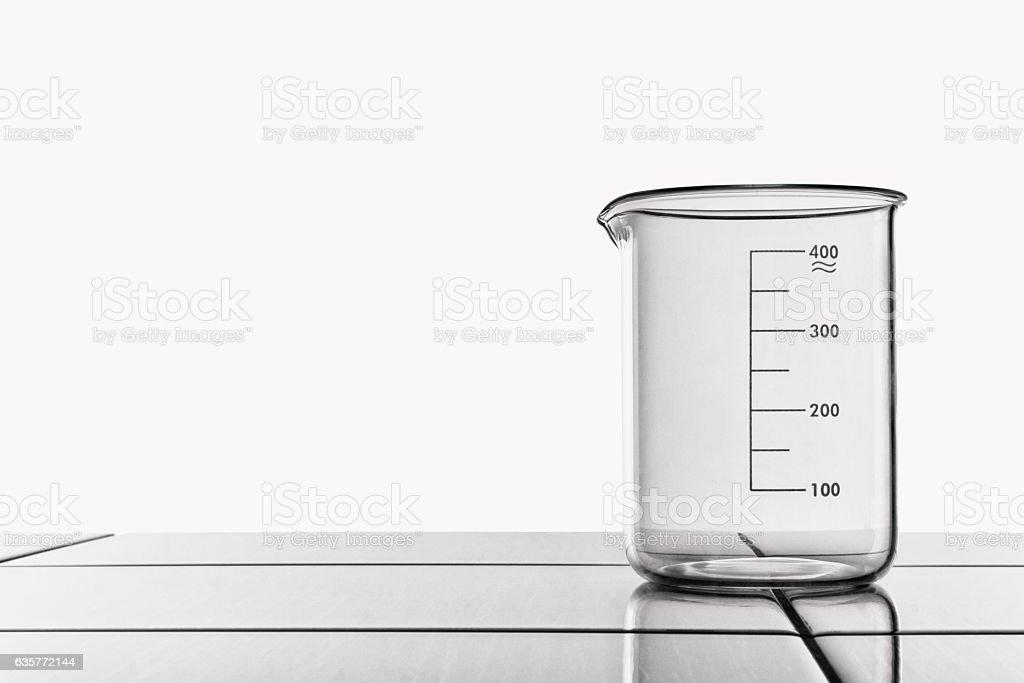 Laboratory glassware on the table. stock photo