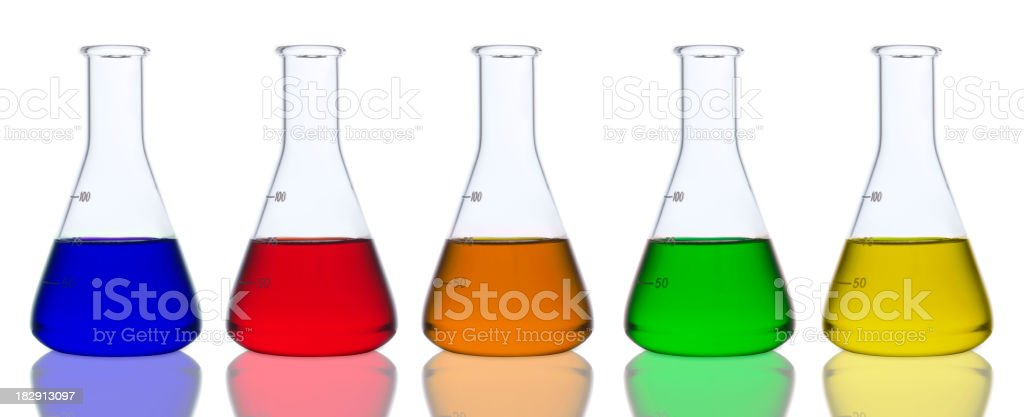 Laboratory glassware on white background. stock photo
