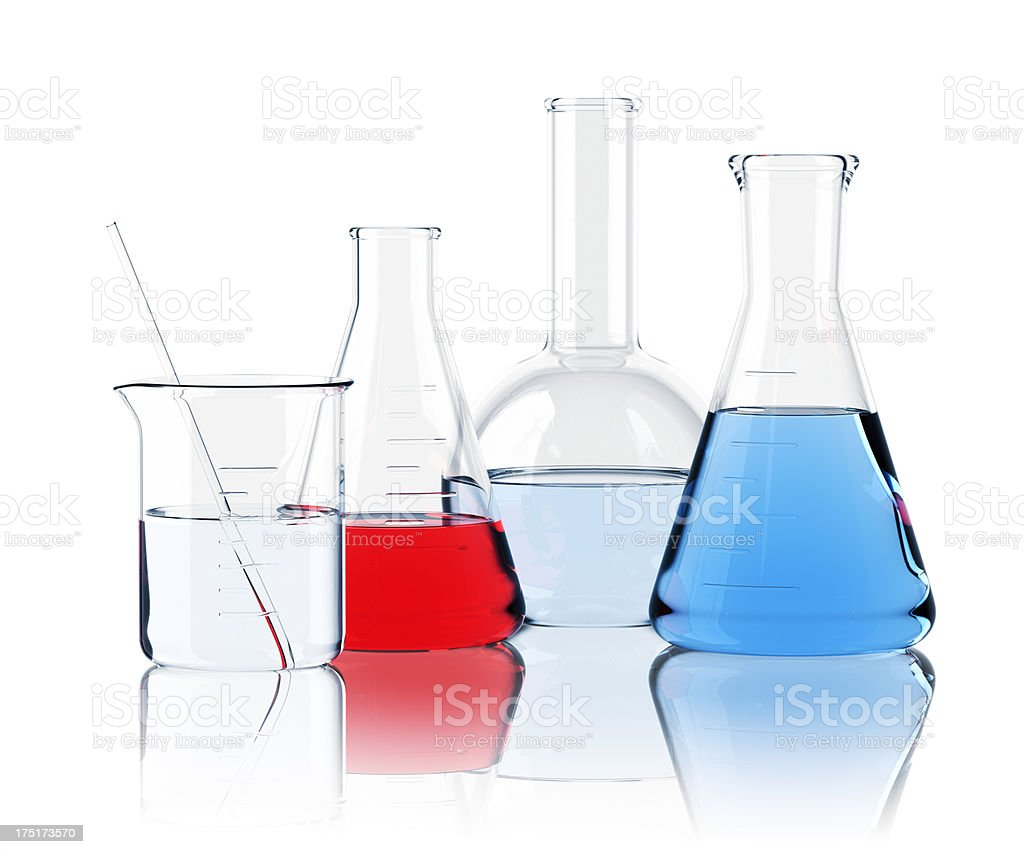 Laboratory Glassware On White royalty-free stock photo