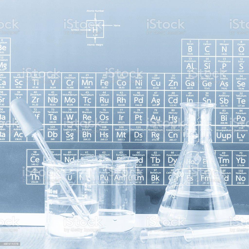 Laboratory glassware (toned blue) stock photo