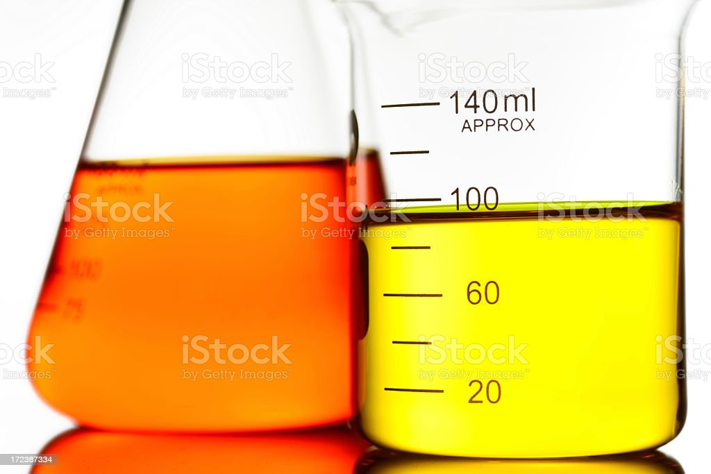 laboratory glassware with color liquid royalty-free stock photo