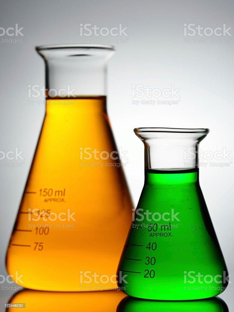 laboratory glassware with color liquid royalty-free stock photo